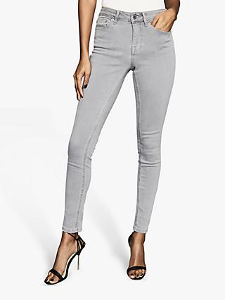 Reiss Lux Mid Rise Skinny Jeans, Grey