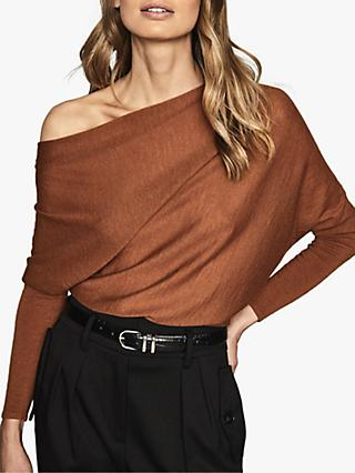 Reiss Harper Cashmere Wool Blend Asymmetric Drape Shoulder Top