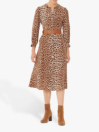 Gerard Darel Darielle Leopard Print Silk Midi Dress, Brown