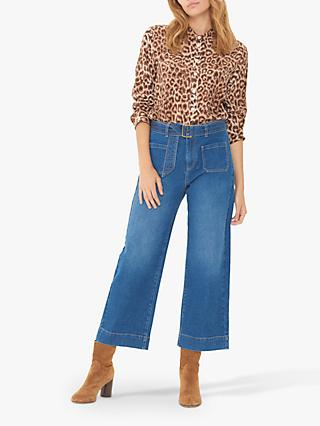 Gerard Darel Lauryne Wide Leg Cropped Jeans, Blue