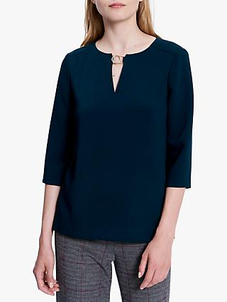 Gerard Darel Megan Bar Circle Detail Blouse, Dark Green