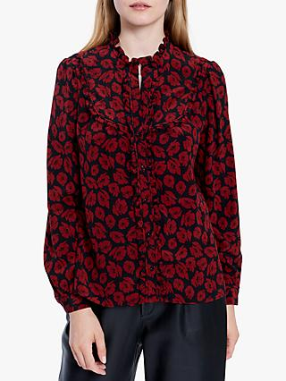 Gerard Darel Marie Floral Silk Blouse, Red