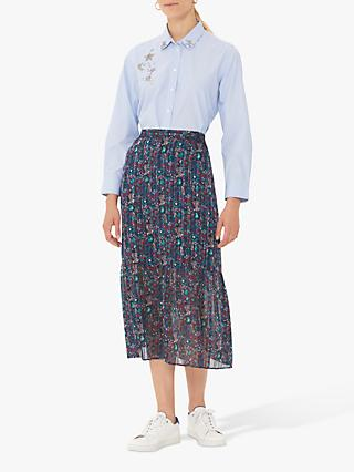 Gerard Darel Terry Floral Midi Skirt, Blue