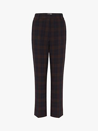 Gerard Darel Liam Check Trousers, Navy/Cinnamon