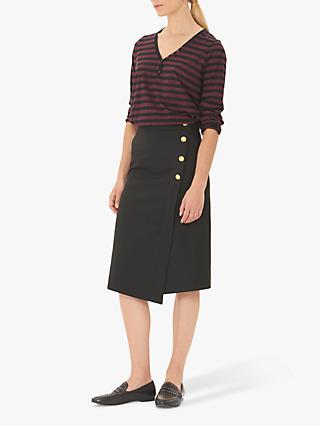 Gerard Darel Tea Wrap Button Skirt, Black
