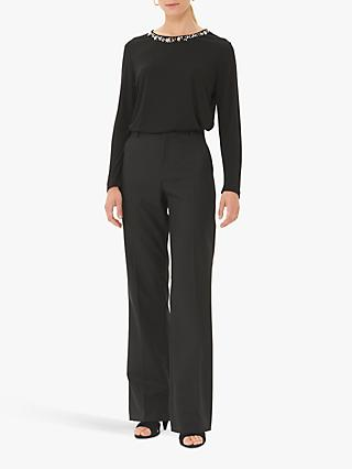 Gerard Darel Louise Wide Leg Wool Mix Trousers, Black