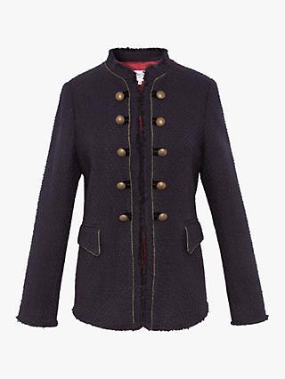 9e2a3dba Gerard Darel Valia Frayed Edge Double Breasted Jacket, Navy
