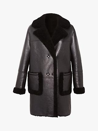 Gerard Darel Andree Sheepskin Detail Coat, Black