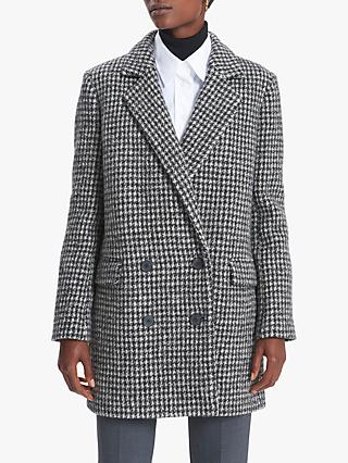 Gerard Darel Pandi Wool Coat, Black/White