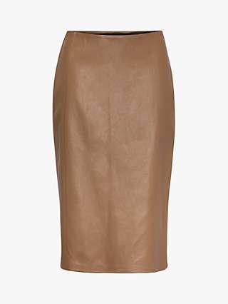 Gerard Darel Leather Pencil Skirt, Brown