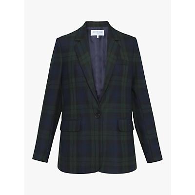 Gerard Darel Valentina Check Print Single Breasted Blazer, Dark Blue