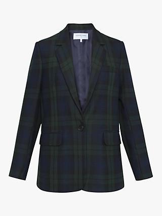 44865ecd0d8 Gerard Darel Valentina Check Print Single Breasted Blazer, Dark Blue