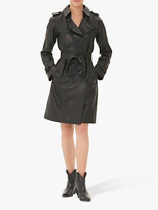 Gerard Darel Noah Leather Trench Coat, Black