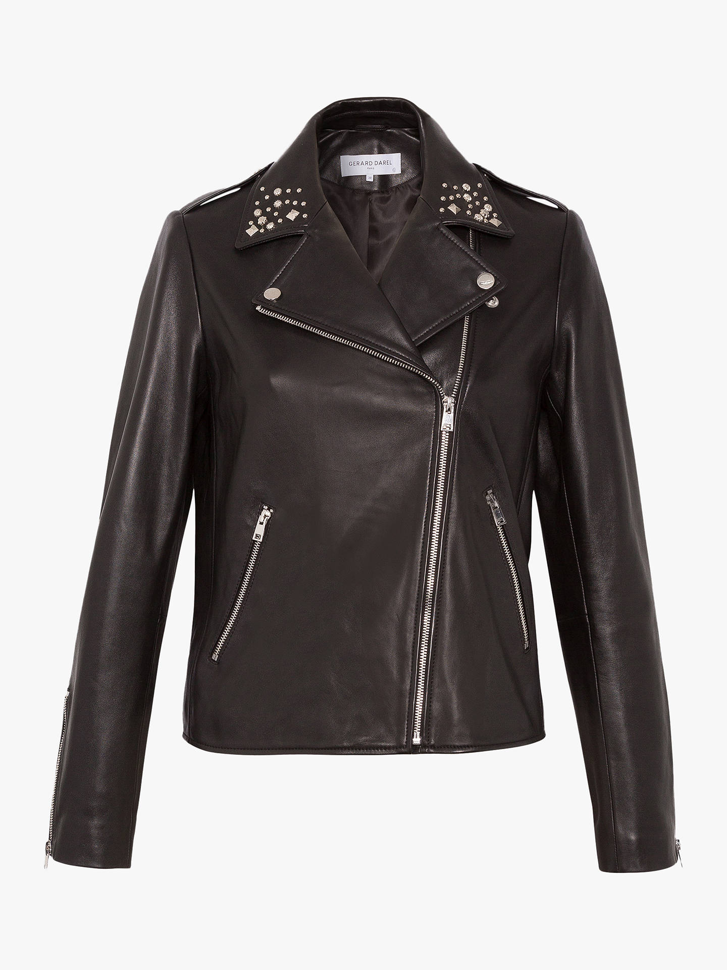 bc12f8fd667f Buy Gerard Darel Leather Garment Nathan Jacket, Black, 8 Online at  johnlewis.com