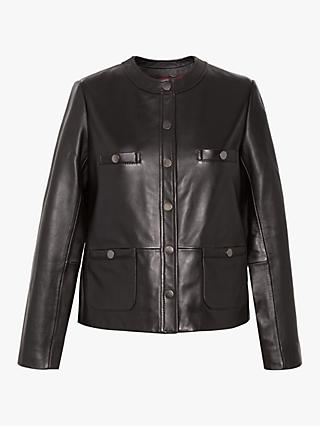 Gerard Darel Niky Collarless Button Leather Jacket, Black