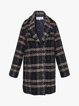 Gerard Darel Poema Check Print Coat, Ink/Multi