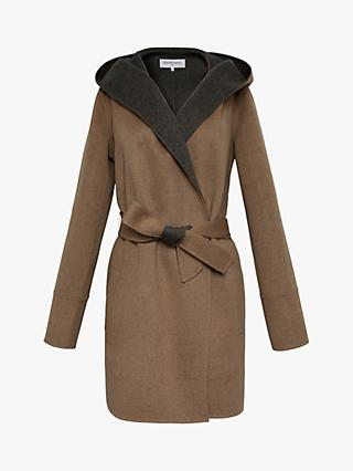 Gerard Darel Prague Belted Wool Coat, Dark Grey/Beige
