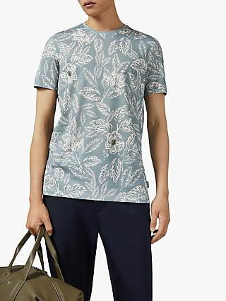 Ted Baker Krackle Floral Print T-Shirt, Light Blue