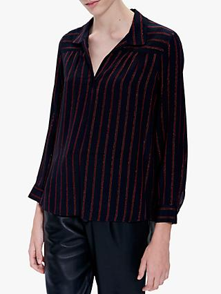 Gerard Darel Morgan Striped Blouse, Blue