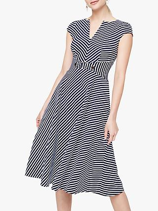 Damsel in a Dress Tilly Stripe Midi Flare Dress, Navy/Ivory