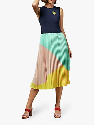 Ted Baker Ophelea Knife Pleat Flared Midi Dress, Navy/Multi