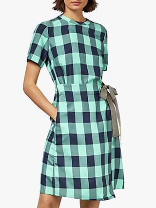 Ted Baker Colour By Numbers Rhiona Checked Wrap Front Dress, Navy