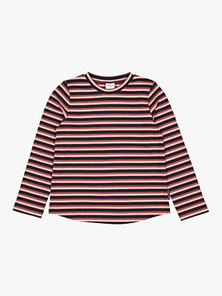 Polarn O. Pyret Children's GOTS Organic Cotton Stripe Rib Top, Red