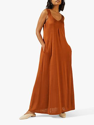 Jigsaw Wide Strap Maxi Dress, Deep Toffee