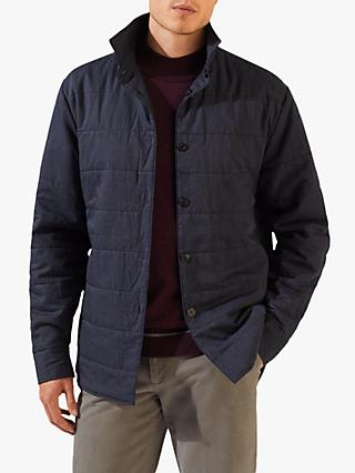 Jigsaw Robin Quilted Overshirt Jacket, Navy