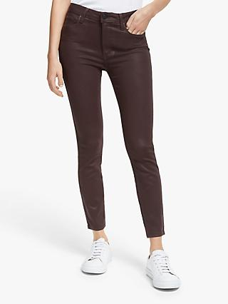 Paige Hoxton Coated Skinny Ankle Jeans, Chicory Coffee