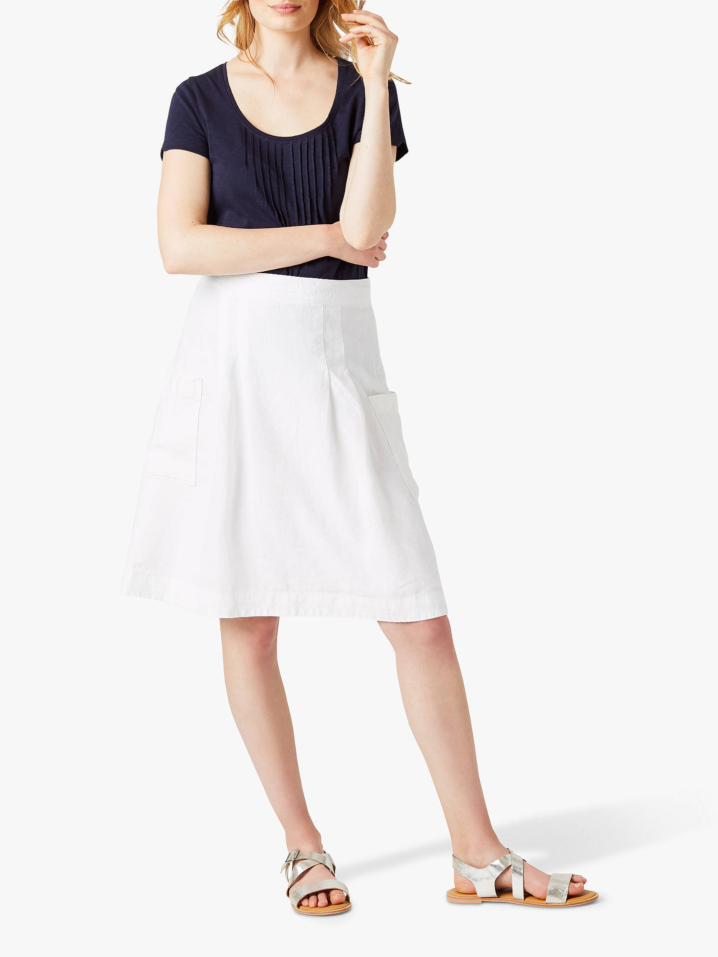bc96c937f5e9 Buy White Stuff Charlie Linen Skirt, White, 6 Online at johnlewis.com ...