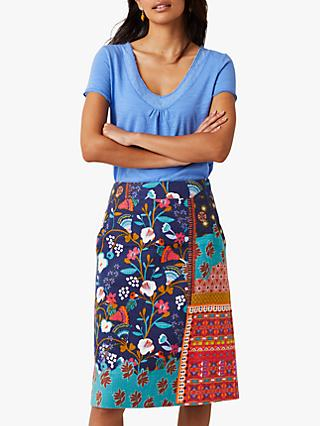 White Stuff Patchwork Floral Print Linen Blend Skirt, Navy/Multi