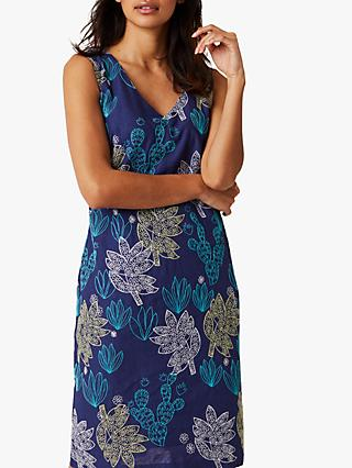 White Stuff Amora Cactus Print Dress, Cancun Blue