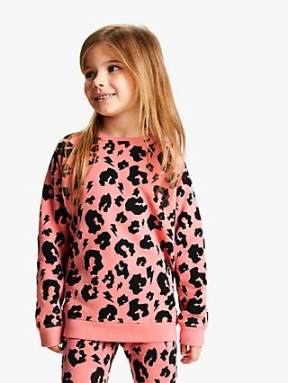Scamp & Dude Children's Leopard Print Sweatshirt, Pink