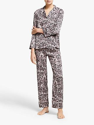 John Lewis & Partners Tia Animal Print Satin Pyjama Set, Mocha