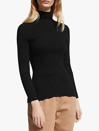 John Lewis & Partners Turtleneck Flat Rib Sweater