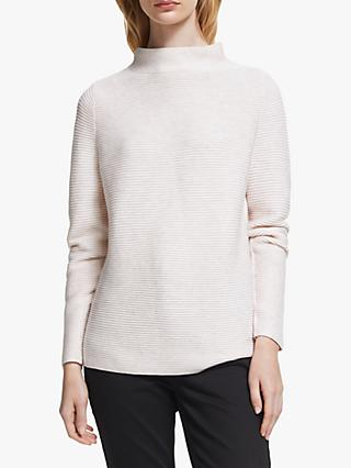 John Lewis & Partners Purl Bar High Neck Sweater, Champagne