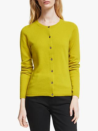 John Lewis & Partners Cashmere Crew Neck Cardigan, Lime