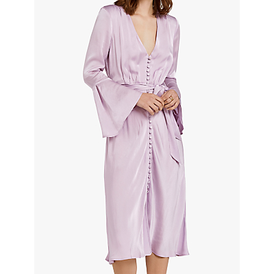 Ghost Annabelle Fluted Sleeve Dress, Lilac