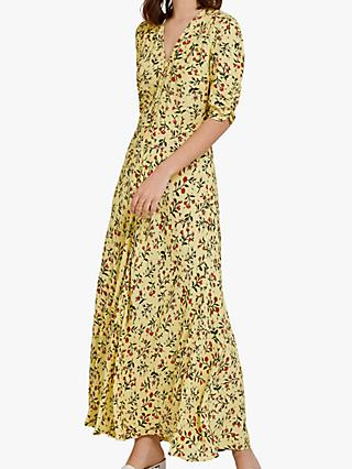 Ghost Marley Floral Print Dress, Yellow/Multi