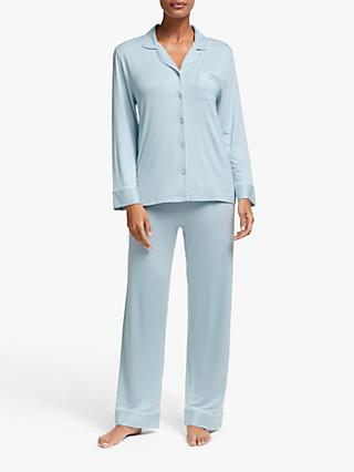 John Lewis & Partners Aria Jersey Pyjama Set, Light Blue