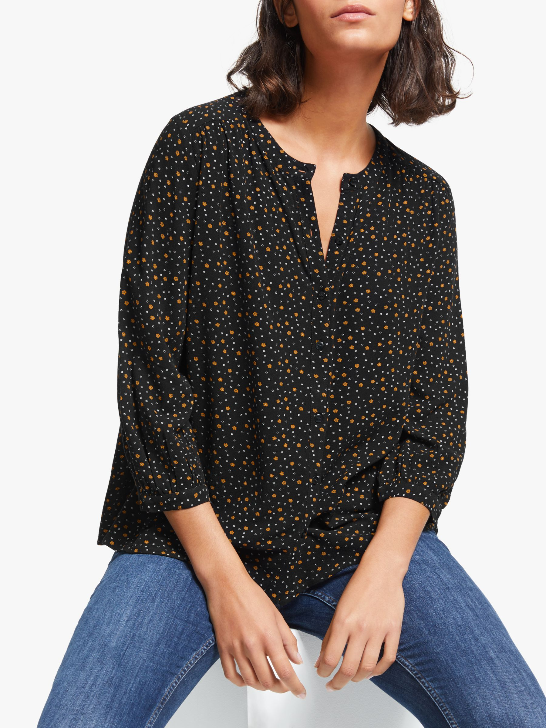 Collection WEEKEND by John Lewis Collection WEEKEND by John Lewis Micro Floral Easy Button Blouse, Black/Yellow