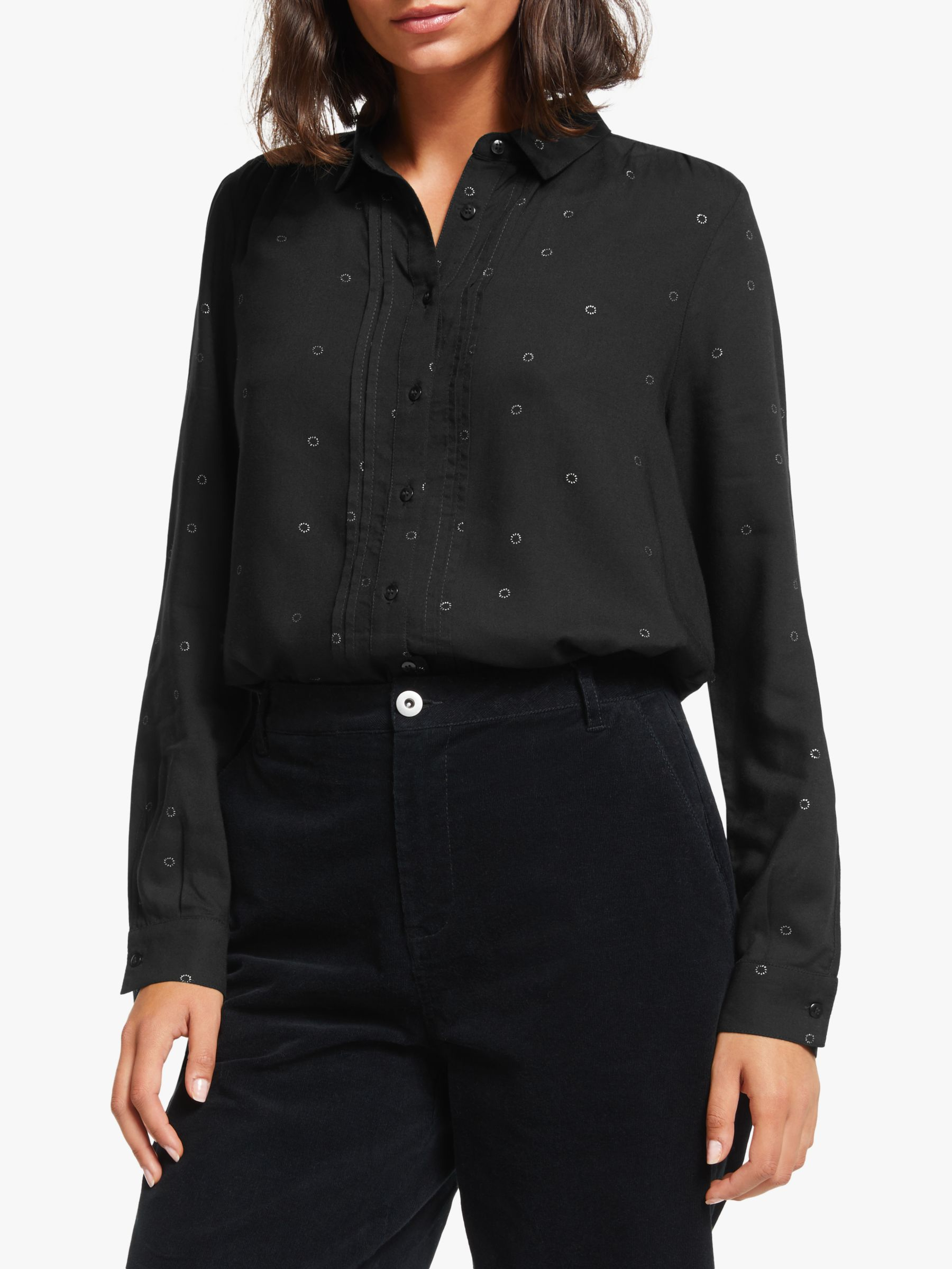 Collection WEEKEND by John Lewis Collection WEEKEND by John Lewis Foil Boyfriend Shirt, Silver/Black