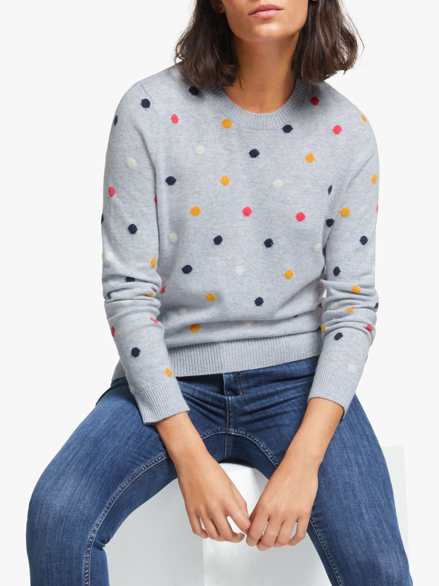 Collection WEEKEND by John Lewis Collection WEEKEND by John Lewis Polka Dot Crew Neck Jumper, Grey/Multi