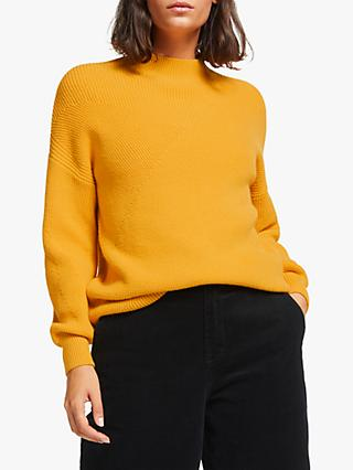 Collection WEEKEND by John Lewis Deflected Rib Funnel Neck Sweater, Yellow