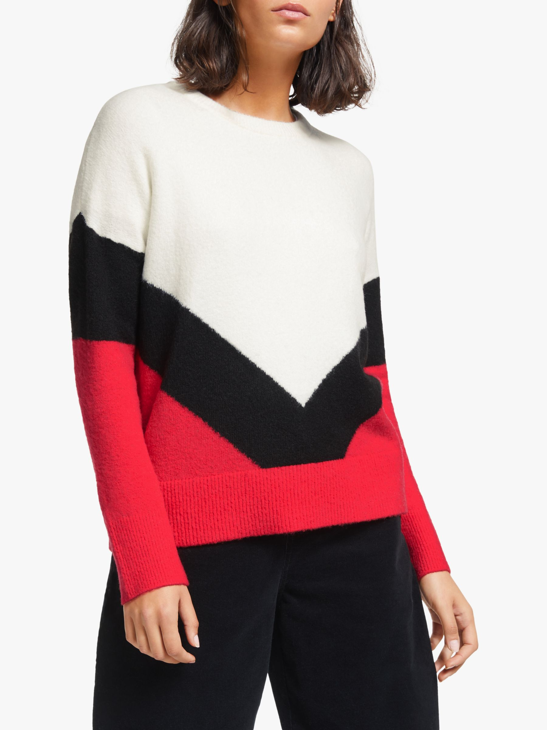 Collection WEEKEND by John Lewis Collection WEEKEND by John Lewis Chevron Colour Block Jumper, Ivory/Red/Black