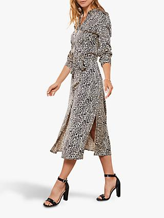 Mint Velvet Leopard Print Phillipa Utility Dress, Neutral/Multi