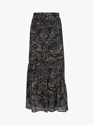 Mint Velvet Bella Print Fluted Hem Skirt, Multi