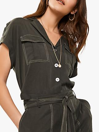 Mint Velvet Khaki Cropped Top, Dark Green
