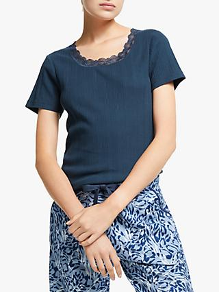 John Lewis & Partners Freya Lace Trim Pyjama Top, Navy